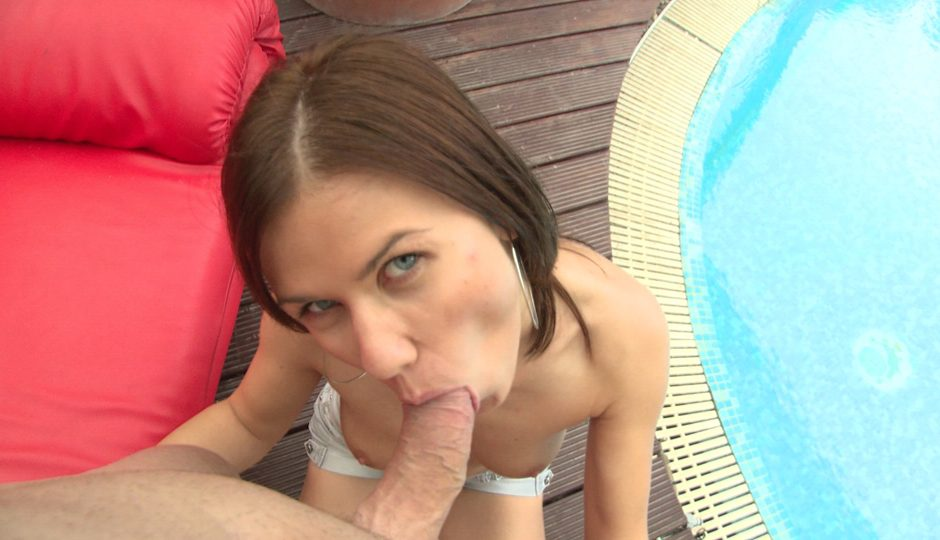 Hand job in swimming pool